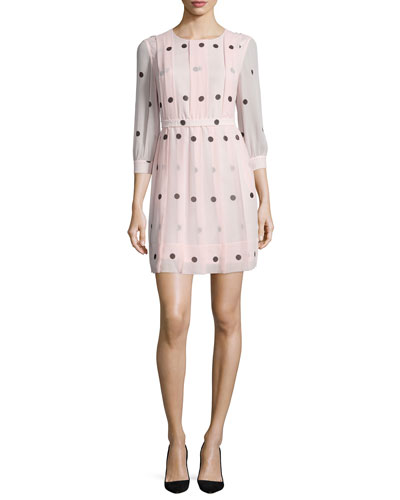 3/4-sleeve polka-dot pleated dress