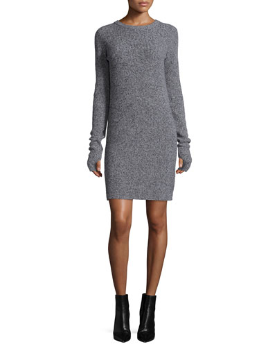 The Easy Long-Sleeve Sweaterdress, Steel