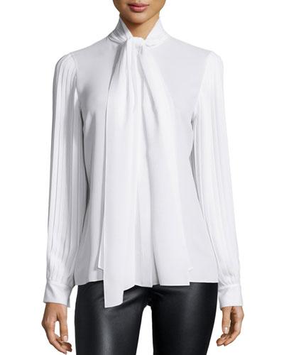 Pleated-Sleeve Tie-Neck Blouse, Optic White