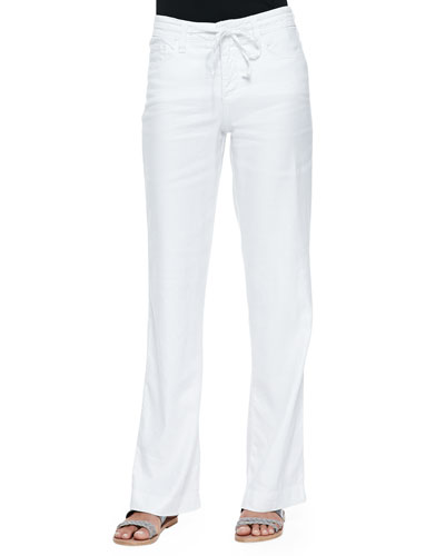 Lindsey Wide-Leg Linen Pants, White