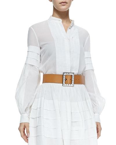 Band-Collar Pleated Shirt, Optic White