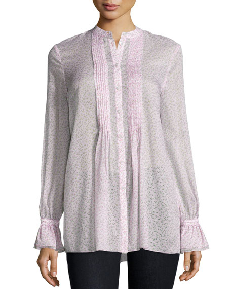 Michael Kors Collection Pleated-Front Long-Sleeve Tunic, Oleander