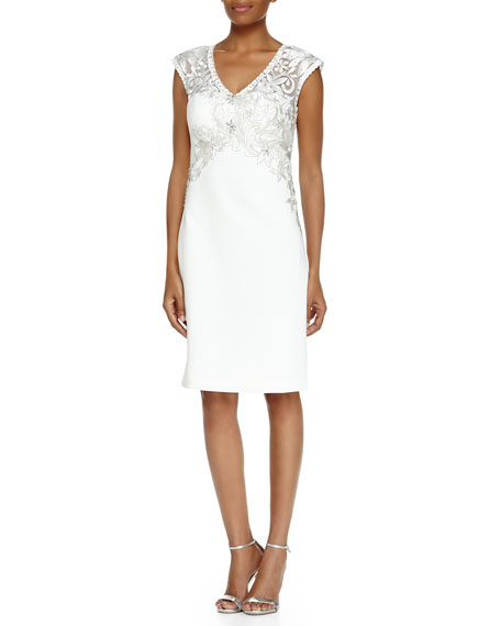 Sue Wong Cap-Sleeve V-Neck Beaded & Embroidered Dress