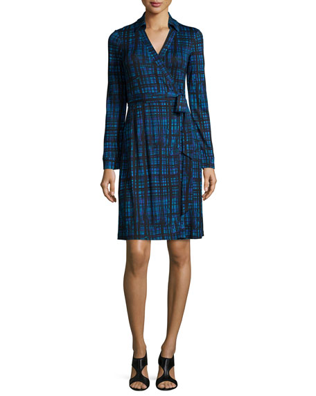 Diane von Furstenberg Long-Sleeve Plaid Wrap Dress