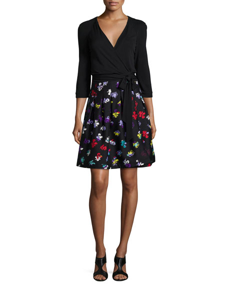 Diane von Furstenberg 3/4-Sleeve Floral-Print Wrap Dress