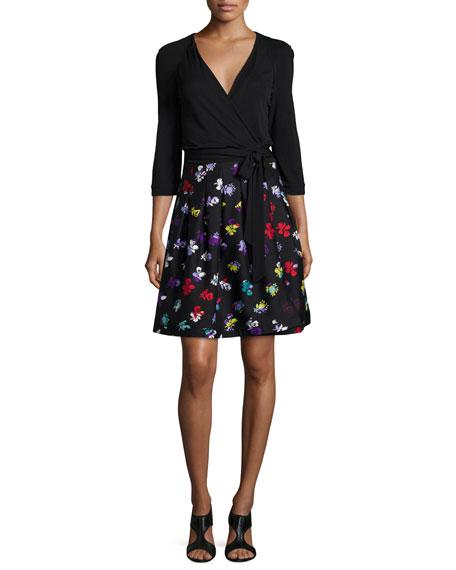 Diane von Furstenberg 3/4-Sleeve Floral-Print Wrap Dress