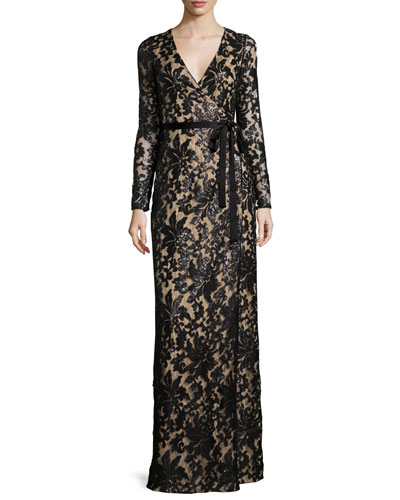 Diane von Furstenberg Long-Sleeve Shimmery Lace Wrap Maxi Dress