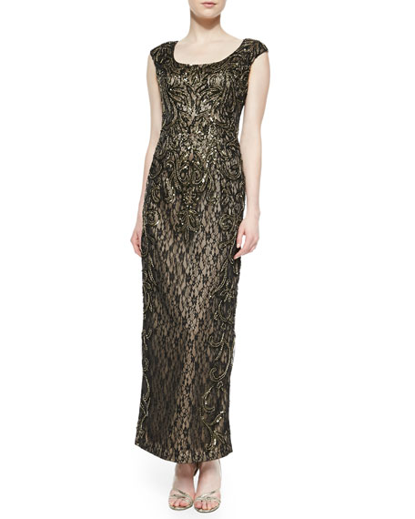 Sue Wong Cap-Sleeve Beaded Metallic Lace Gown