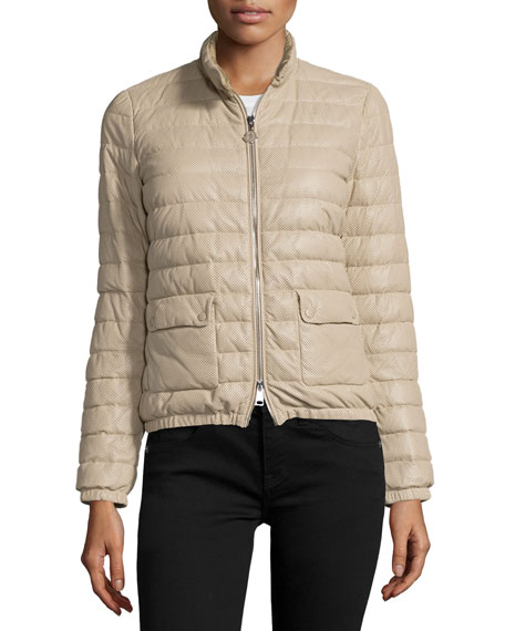 Moncler Delfi Leather Puffer Jacket, Beige