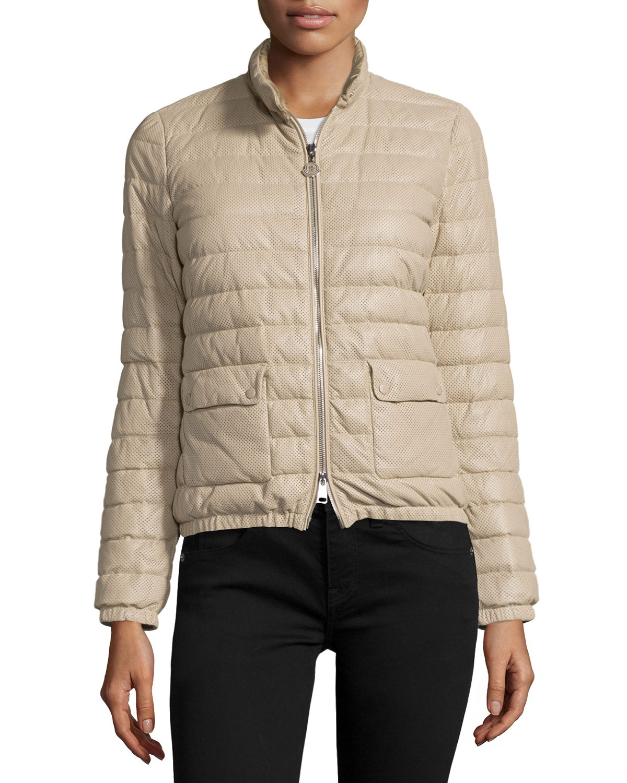 Delfi Leather Puffer Jacket, Beige