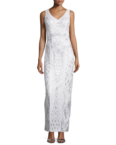 Sue Wong Sleeveless Embroidered Column Gown, White