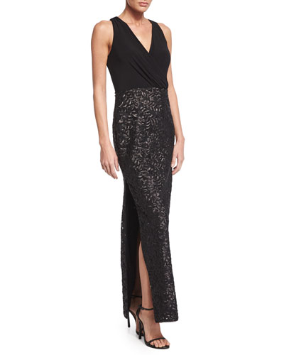 Sleeveless Combo Sequined Column Gown