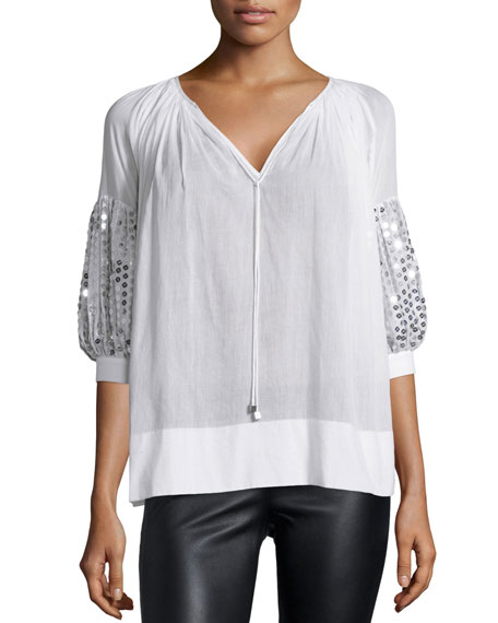 Michael Kors Paillette-Sleeve V-Neck Blouse, Optic White