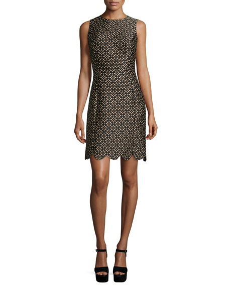 Michael Kors Collection Floral-Print Scallop-Hem Shift Dress,