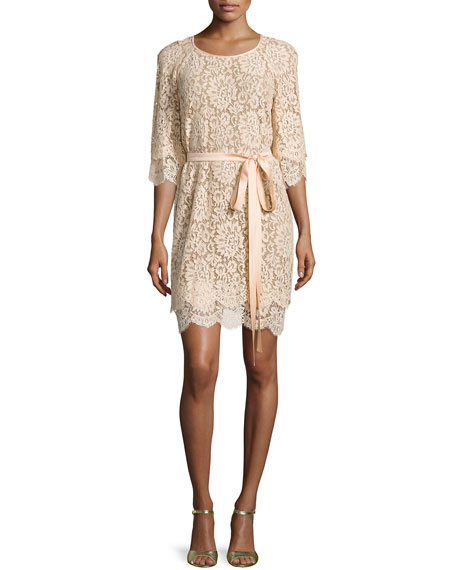 Michael Kors Collection 3/4-Sleeve Lace Shift Dress, Nude