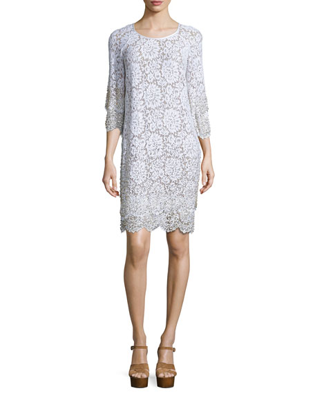 Michael Kors Layered-Hem Lace Shift Dress, Optic White