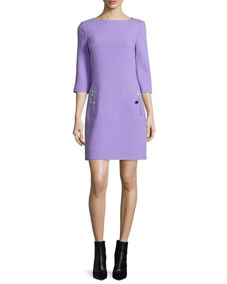 3/4-Sleeve Shift Dress, Wisteria