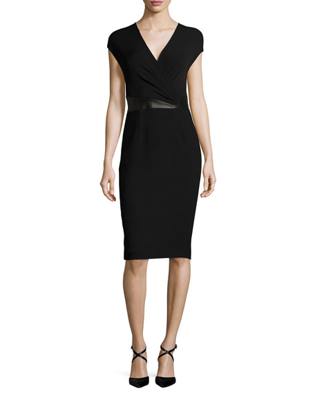 Michael Kors Collection Cap-Sleeve Faux-Wrap Sheath Dress, Black