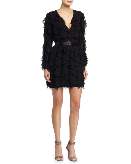 Michael Kors Ruffled V-Neck Dress, Black