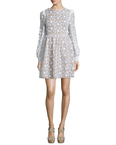 Floral Lace Fit-&-Flare Dress, Optic White