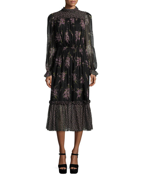 Michael Kors Long-Sleeve Floral-Print Midi Dress, Black/Oleander