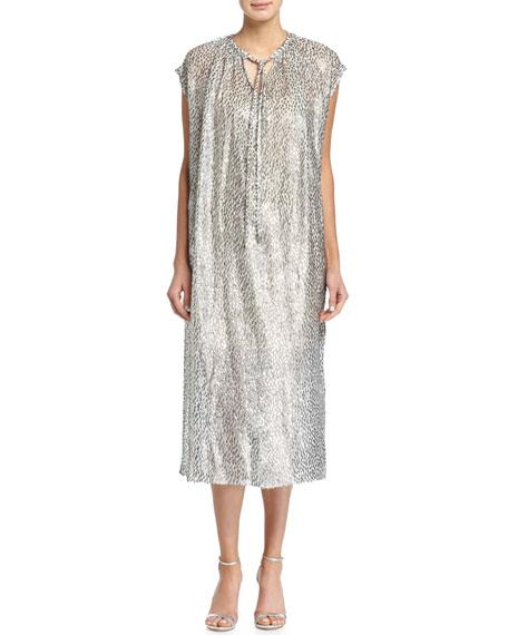Michael Kors CollectionTie-Neck Metallic Caftan Dress