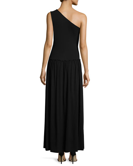 One-Shoulder Pleated-Skirt Maxi Dress, Black