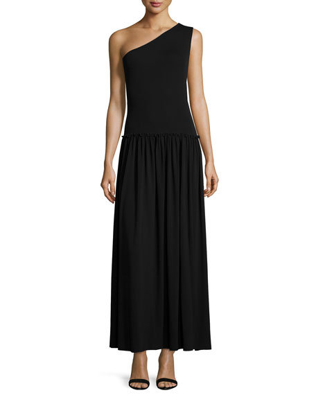 Michael Kors Collection One-Shoulder Pleated-Skirt Maxi Dress, Black