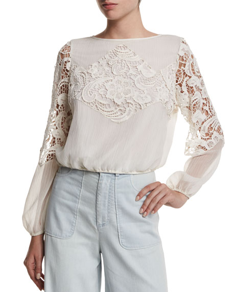 Alice + OliviaJenelle Long-Sleeve Lace-Trim Plisse Blouse, Cream