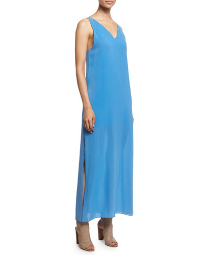 Grady Sleeveless High-Slit Maxi Dress, Blue