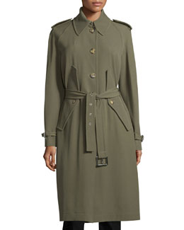 Button-Front Belted Trench Coat, Juniper