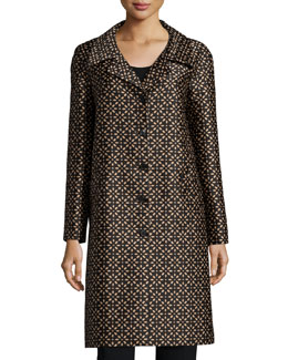 Long-Sleeve Floral-Print Balmacaan Coat, Black/Suntan