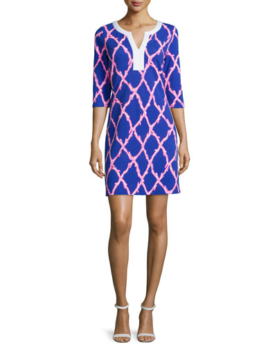 Veranda 3/4-Sleeve Printed Tunic Dress