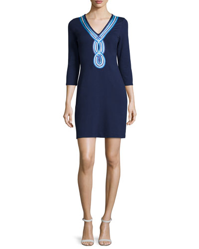 Clarkson V-Neck Soutache-Trim Dress