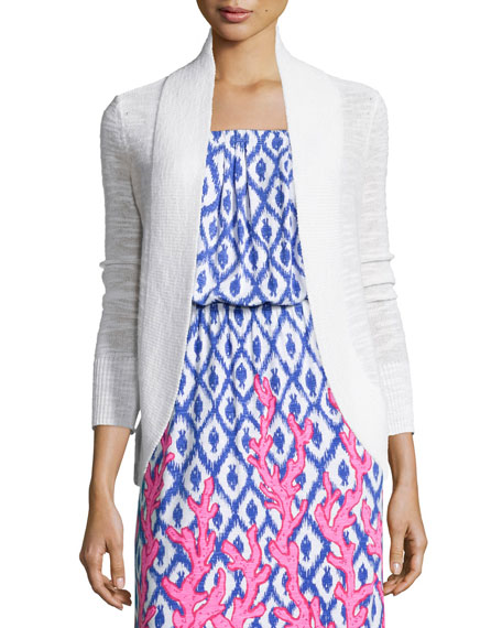 Lilly PulitzerAmalie Long-Sleeve Open Cardigan, White