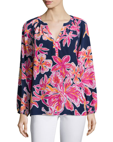 Lilly Pulitzer Elsie Floral-Print Blouse