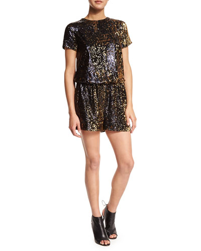 Short-Sleeve Sequined Short Romper
