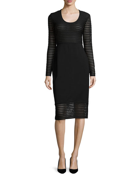 Shoshanna Long-Sleeve Mesh-Striped Dress