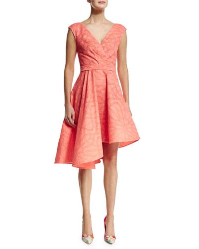 Sleeveless Asymmetric-Hem Dress, Papaya