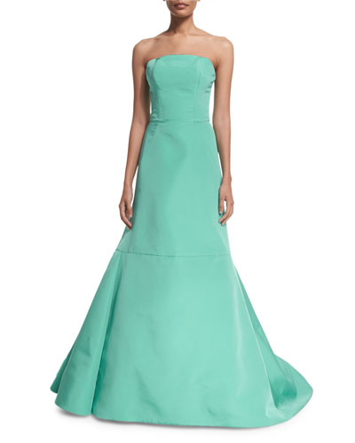 Strapless Fit-&-Flare Gown, Sea Blue
