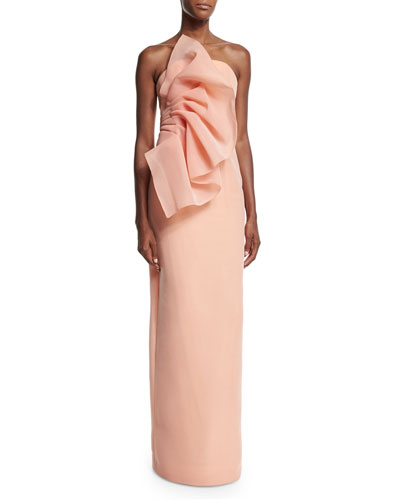 Wild Flower Strapless Column Gown, Apricot