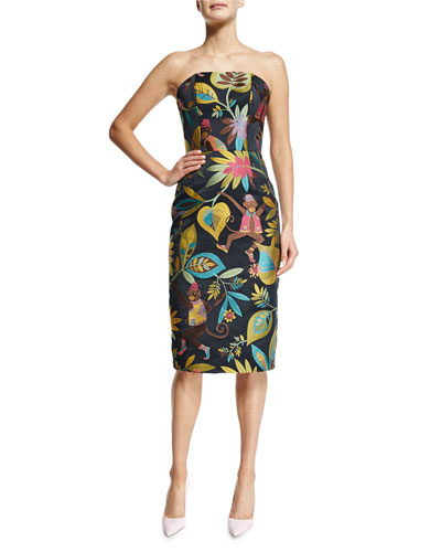 Christian Siriano Strapless Monkey-Print Cocktail Dress, Monkey