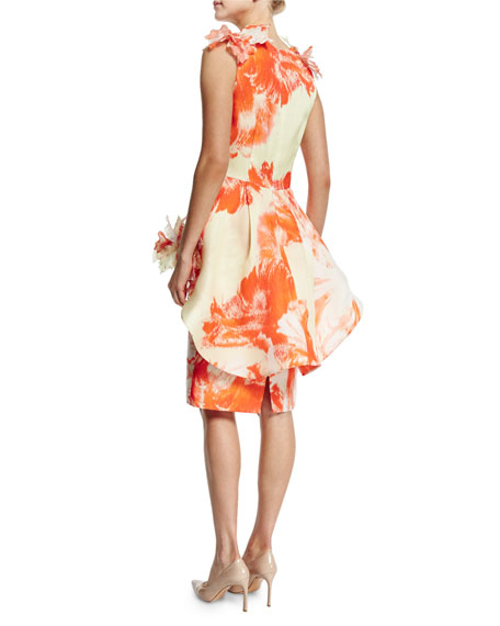Sleeveless Floral Peplum Dress, Citrus