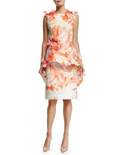 Sleeveless Floral Peplum Dress, Citrus