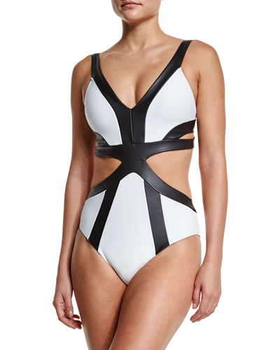 Faux-Leather Strappy One-Piece Swimsuit