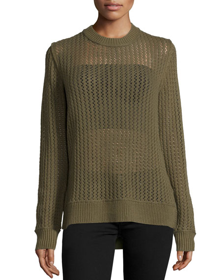 Long-Sleeve Zigzag Sheer Sweater, Juniper