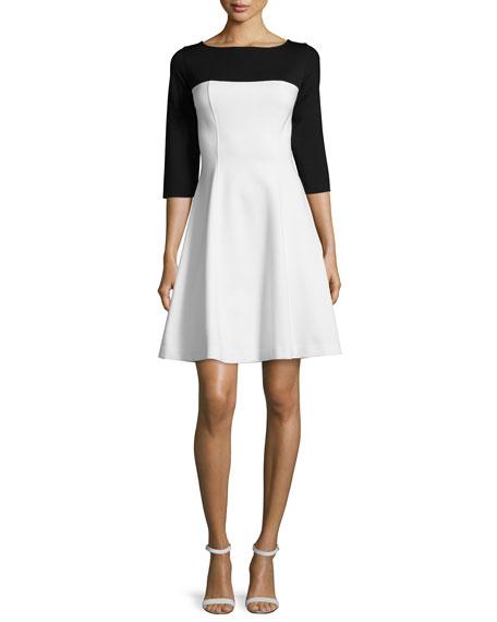 Josie Natori 3/4-Sleeve Colorblock Fit & Flare Dress