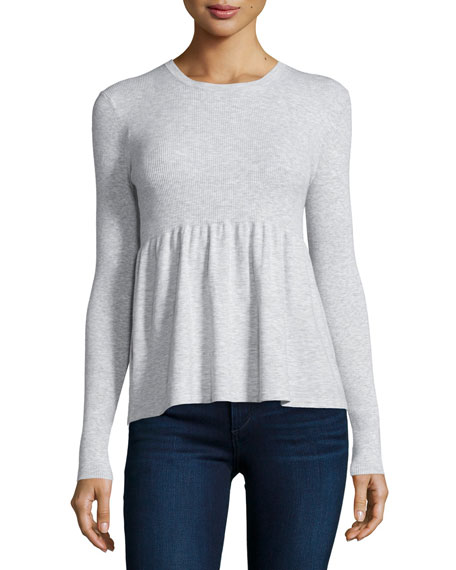 Michael Kors Collection Long-Sleeve Flare Top, Pearl Gray