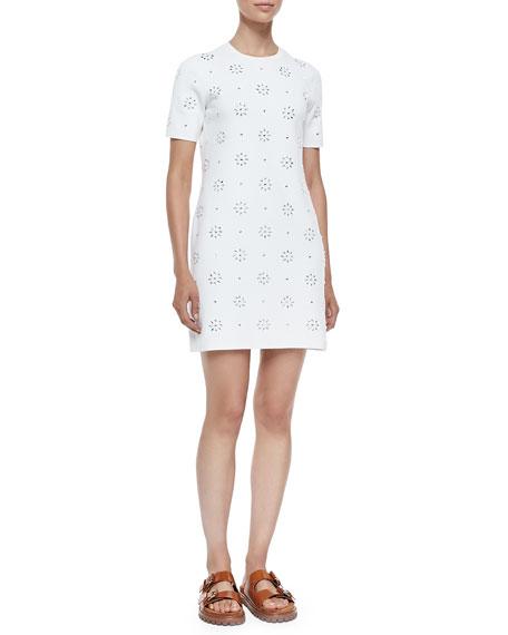Michael Kors Collection Cotton Eyelet T-Shirt Dress