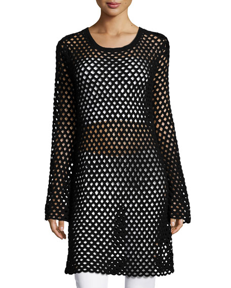 Michael Kors Collection Long-Sleeve Mesh Tunic Dress, Black
